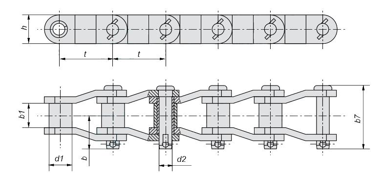 схема, чертеж приводной цепи с изогнутыми пластинами