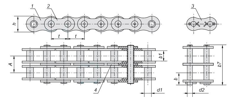 Цепи приводные втулочные двухрядные 2ПВ-9,525-20