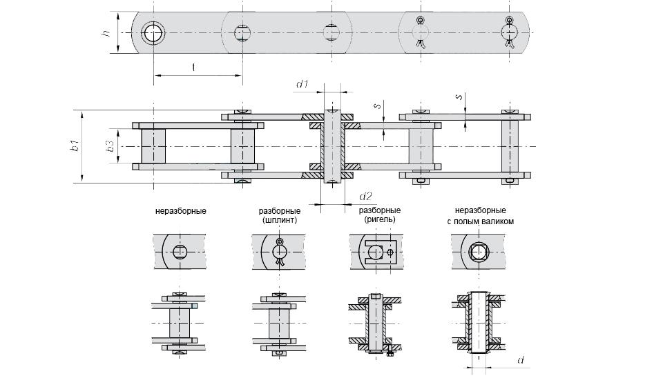ЦЕПЬ М28-1-50-1 чертеж и характеристики