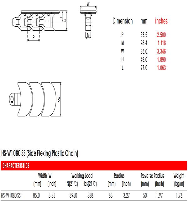 цепи HS-W1080 SS