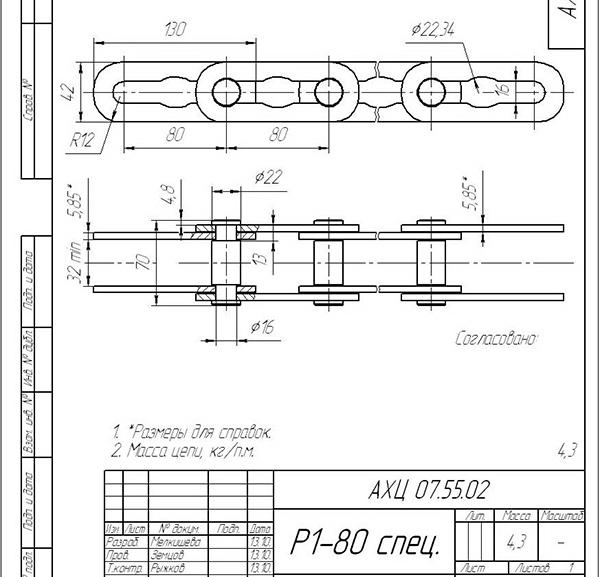 чертеж Цепь Р1-80